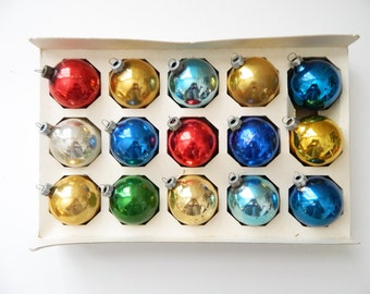 Set of 15 Vintage Colorful Ball Ornaments, Glass Christmas Decorations