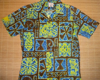 Mens Vintage 60s Momi's Hawaiian Aloha Shirt - S - The Hana Shirt Co