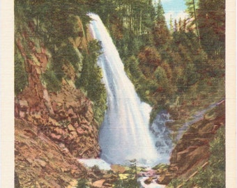 Narada Falls, Rainier National Park - Linen Postcard - Unused (A10)