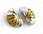 Silver and Brass Clip On Earrings Vintage Mexican Laton Clips Mixed Metal Statement Earrings 80s Jewelry