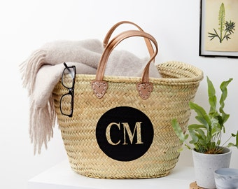 Personalised Monogrammed Straw Bag With Leather Handles