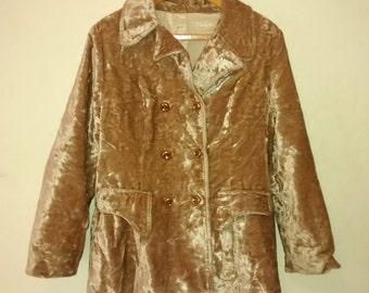 Vintage Crushed Velvet Jacket , Women Size 8 , Double Breasted , Sixties , Hippie , Boho , 1960s.