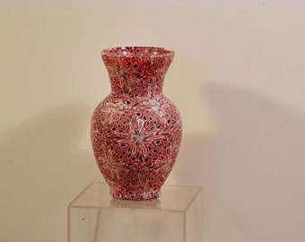 Vase glass/polymer clay  Red black