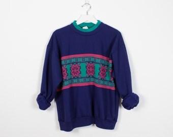 Vintage 80s Sweatshirt Purple Pink Teal Green Snowflake Knit Ski Nordic Sweater Striped 1980s Sweatshirt Pullover Ringer Tshirt Jumper L XL