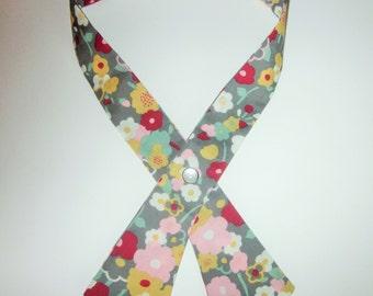 Womens Crisscross Tie, Continental Tie, London Calling Flower Stem Pewter, Handmade