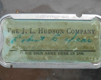 Vintage Hudsons Department Store Detroit Metal Credit Card
