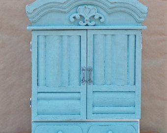 Shabby chic cabinet with one drawer, standing cabinet, wall cabinet, distressed