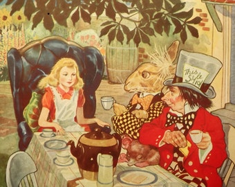 DAMAGED 1950s Alice in Wonderland vintage book by Lewis Carroll illustrated by G. W. Backhouse