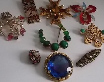Vintage Brooches Pins Bundle 9 LOVELY