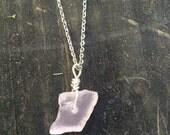 Rose Quartz crystal necklace, raw rose quartz necklace, rose quartz chakra necklace, quartz crystal pendant, raw crystal necklace