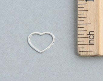 Sterling Silver Heart Charm, 925 Sterling Silver Charm, Tiny Heart Charm, Cut Out Heart Charm, Open Heart Charm, 12mm ( 1 piece )