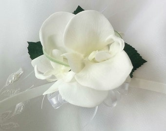 Wedding Natural Touch Ivory Orchids Corsage - Silk wedding Corsage