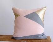 Blush Pink Pillow/Rose Quartz/Champagne/Grey/Zen/Pillow Cover/Triangle/Custom/Handmade/Eclectic/ZigZag Studio Design