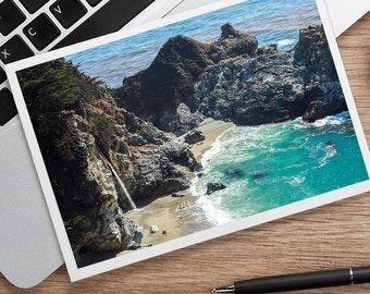 California Photo Notecard, Big Sur Notecard, Waterfall Notecard, Travel Notecard, Blank Greeting Card, Blank Photo Notecard
