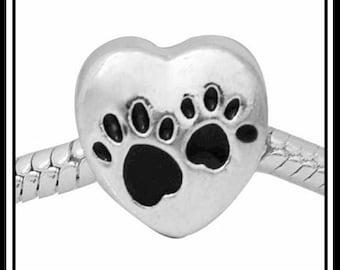 PET LoVER ~ Black Enamel PaW PRiNTs on Silver Heart ~ Silver Plated Charm Bead ~ fits European Bracelets - MC