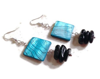 Black and Blue Earrings - Shell and Onyx Jewelry - Sterling Silver Jewellery - Beaded - Fashion - Chic