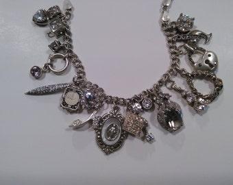 All Glitter Sterling Diamond and Cz Charm Bracelet