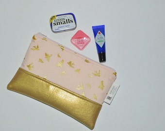 READY TO SHIP Gold Leather Clutch Purse - Blush Pink Bird Print Zip Pouch - Mini Makeup Accessory Pouch - Gift for Her