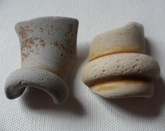 2 large grey & cream pottery bottlw rim partials - Lovely English beach find pieces