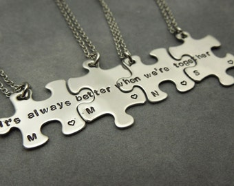 Its always better when were together, personalized puzzle pieces necklace set of 4, hand stamped stainless steel, best friends, sisters