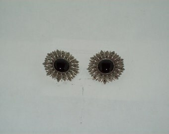 Sterling Silver Black Onyx and Marcasite- Clip on Earrings