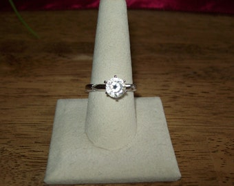 Sterling Silver CZ Engagement- Size 9