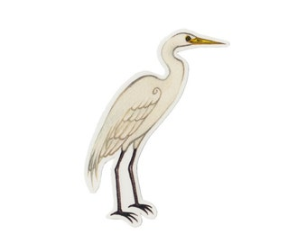 Great Egret Bird Magnet / Nature Art / Refrigerator Magnet / Office Magnet / Party Favor / Small Gift