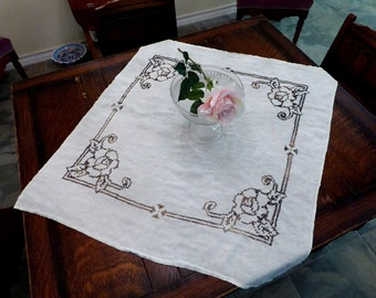 Small Linen Tablecloth Coffee Color Roses, Small White Table Cloth Green Roses