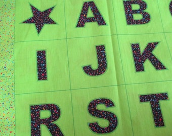 alphabet ABC panel The Name Game by Sara Tuttle and Sandy Brawner black dot and lime green
