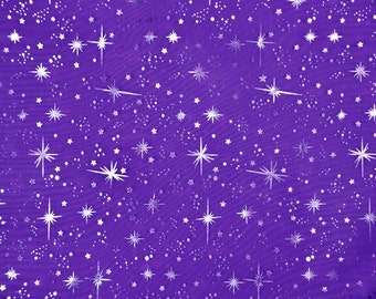 Star sparkle Bursts Sheer Organza PURPLE  25 yards 58 Inch Wide Fabric