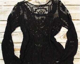 Lace tunic,  shear black top with lace , tops, lace,clothing, tees, boho, romantic, boho, clothing, fall fashion, women top, tshirts,  | TP2