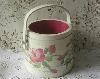 Vintage Sugar Barrel , Sugar Bucket , Firkin Sugar Bucket , Wooden Pail , Pink & White Rose Painted Bucket , Shabby Chic Look , Rustic Decor