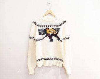 Vintage 1970s Sweater | Fair Isle Style 1970s 60s Sweater | Unisex Sweater | 7M001
