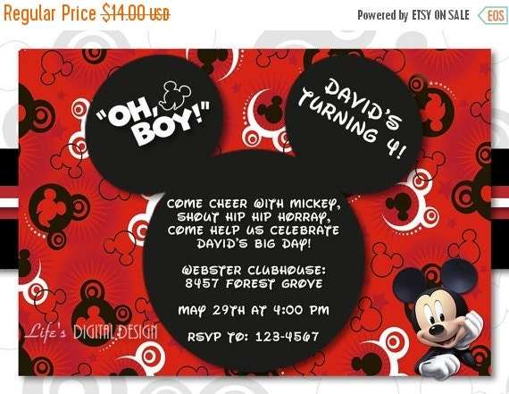 Mickey Mouse Invitation Birthday with Photo Options Customizable Printable