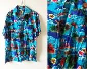 """1950s Hawaiin Shirt Scenes """"Made in Hawaii"""" / Vintage Hawaiin Shirt / Magnum P.I. Hawaii 5-0 / Beach Scenes Shirt / 1950s Shirt"""