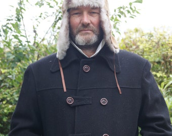 Mens Russian Hat 19th Century Faux Fur Trapper Hat. Ushanka Hat