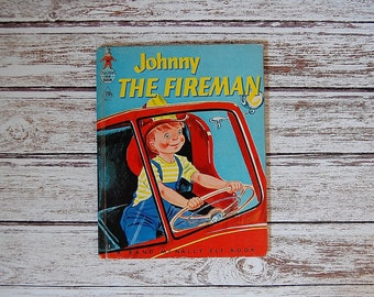 Vintage Fireman Book, Rand McNally Elf Book, Johnny The Fireman Boy Book, Tip Top Elf Book, Vintage Kids Books