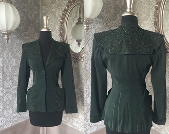 Women's Vintage Ni-Nel 1940's Dark Green Hand Beaded Jacket Blazer S/M