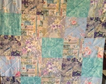 Handmade Turquoise Lap,Baby/Child Patchwork Quilt,Ready to ship