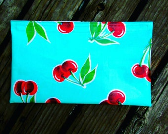 Turquoise Cherry Print Oilcloth Bag