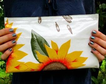 White Sunflower Print Oilcloth Bag