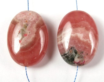 Argentina Rhodochrosite Small Oval Bead - 18mm x 13mm x 7mm - 2 beads - B3855
