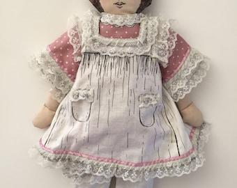 Vintage Handmade Fabric Doll