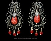 Filigree earrings with coral