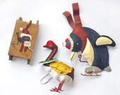Bird ornaments, Lot of three fHoliday Decor,penguin, duck, painted sled