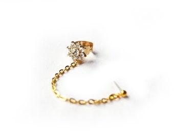 Gold Crystal Flower Ear Cuff Chain Earring (Single-Side)