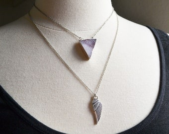 Purple Triangle Crystal and Wing Layering Necklace Set