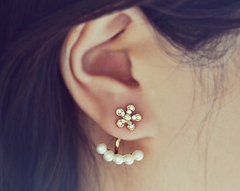 Gold Flower and Pearls Ear Jacket Earrings
