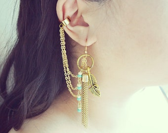 Boho Feather and Tassel Gold Chain Cuff Earrings (Pair)