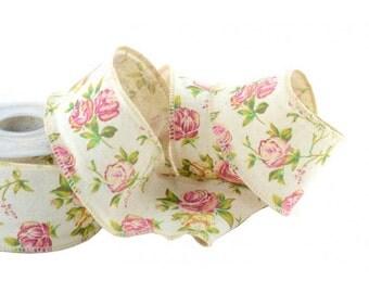 "Cotton Ribbon Romantic Roses 2 3/8"" width 5 meters"